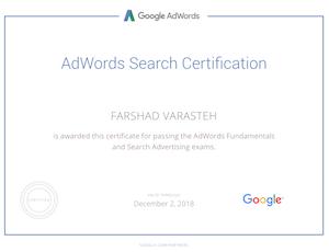 مدرک تبلیغات در گوگل فرشاد وارسته