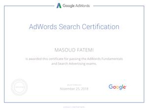 مدرک تبلیغات در گوگل مسعود فاطمی