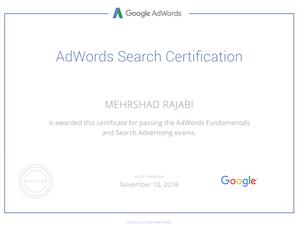 مدرک تبلیغات در گوگل مهرشاد رجبی